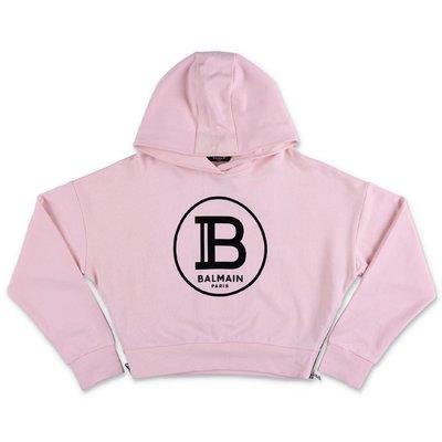 Balmain pink logo detail cotton hoodie