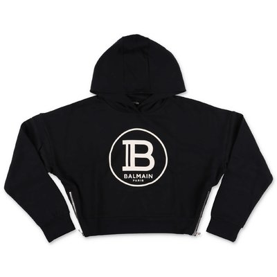 Black logo detail cotton hoodie