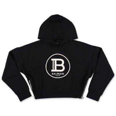 Black logo detail cotton hoodie
