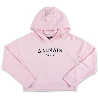 Balmain felpa rosa in cotone con logo e cappuccio