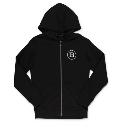 Balmain black cotton sweatshirt hoodie