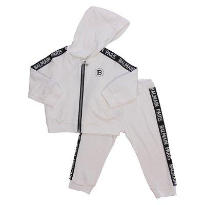 Completo bianco in jersey di cotone con logo e cappuccio