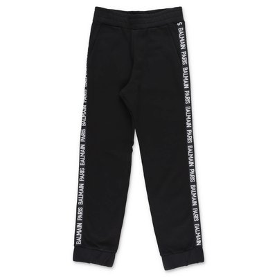 Balmain black logo detail cotton sweatpants
