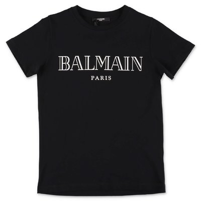Balmain black logo detail cotton jersey t-shirt