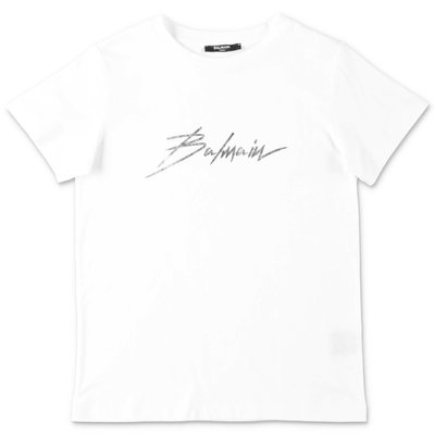Balmain white logo detail cotton jersey t-shirt