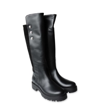 Balmain black leather boots with Iconic buttons