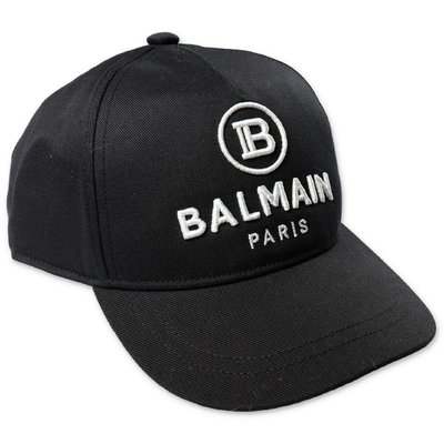 Balmain logo black cotton canvas baseball cap