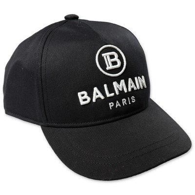 Balmain berretto da baseball nero in tela di cotone con logo