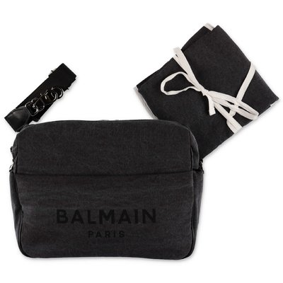 Balmain black logo detail cotton denim changing bag
