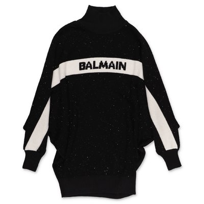 Balmain black virgin wool blend starry effect dress