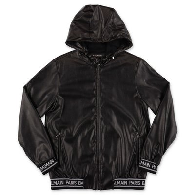 Balmain black faux leather hooded jacket