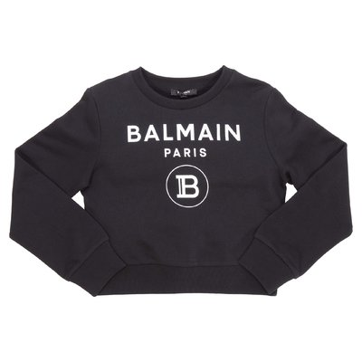 Balmain logo black cotton sweatshirt