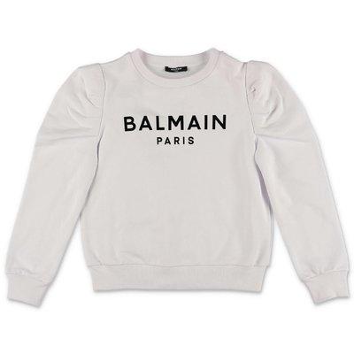Balmain logo white cotton sweatshirt