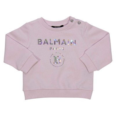 Balmain logo pink cotton sweatshirt