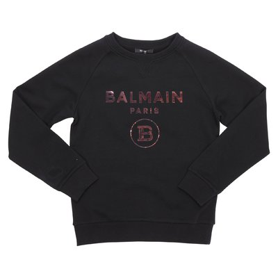 Balmain logo black cotton sweatshirt