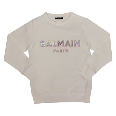 Balmain logo white cotton teen girl sweatshirt