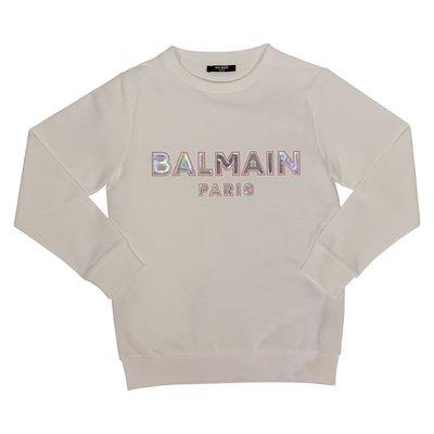 Balmain logo white cotton teen girl sweatshirt