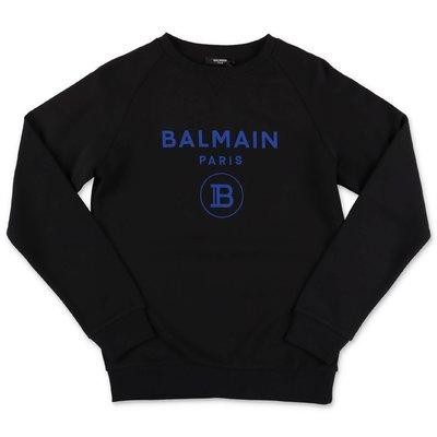 Balmain black logo detail cotton sweatshirt
