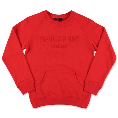Balmain red cotton sweatshirt