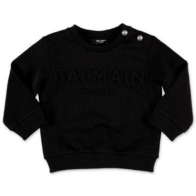 Balmain black logo detail cotton sweatshirt