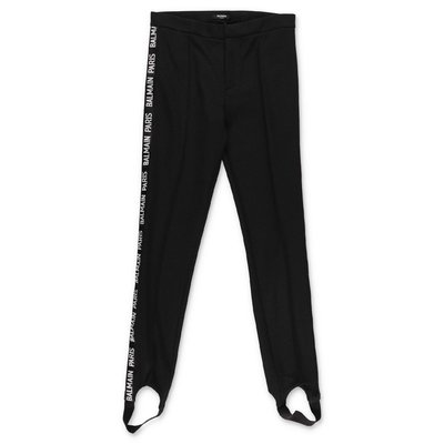 Balmain black cotton blend stirrup pants