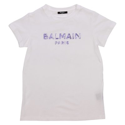 Balmain logo white cotton jersey t-shirt