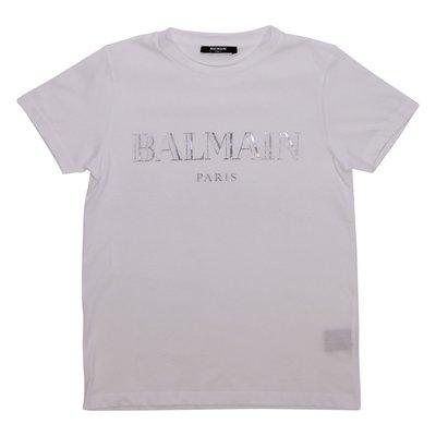 Balmain t-shirt bianca in jersey di cotone con logo