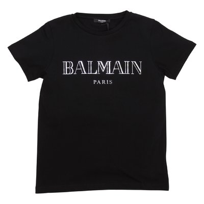 Balmain t-shirt nera in jersey di cotone con logo