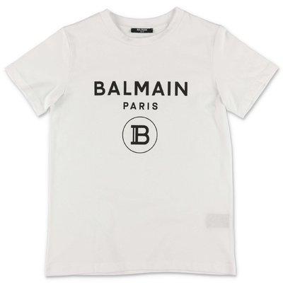 Balmain t-shirt bianca in jersey di cotone organico con logo