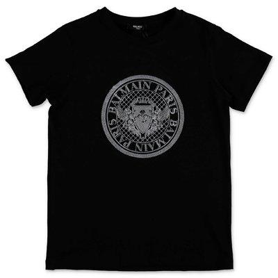 Balmain t-shirt nera in jersey di cotone organico con logo