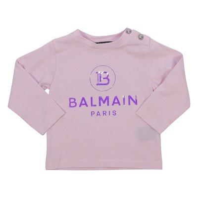 Balmain t-shirt rosa in jersey di cotone con logo