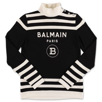 Balmain black pure virgin wool jumper