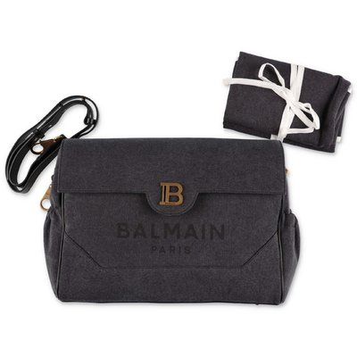 BALMAIN black cotton canvas changing bag