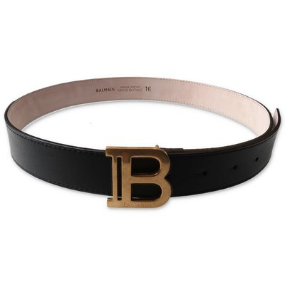 Balmain cintura nera in vera pelle con dettaglio logo