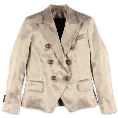 Balmain gold linen double-breasted jacket