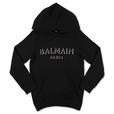 Balmain black logo detail cotton hoodie