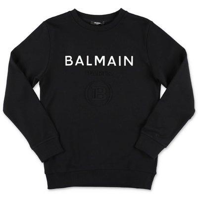 BALMAIN felpa nera in cotone con logo