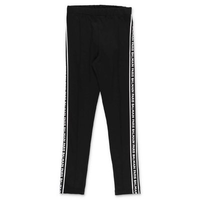 Balmain leggings neri in cotone stretch