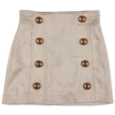 BALMAIN gold linen metallized skirt