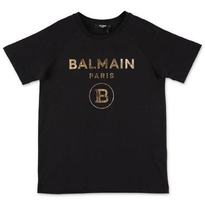 BALMAIN t-shirt nera in jersey di cotone