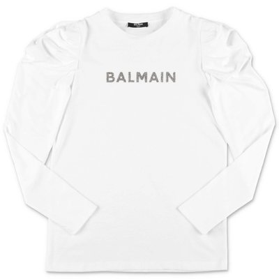 BALMAIN white cotton jersey t-shirt