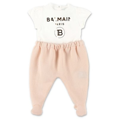 BALMAIN cotton romper with contrasting color panels