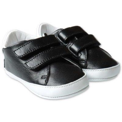 Black logo detail leather BALMAIN prewalker shoes