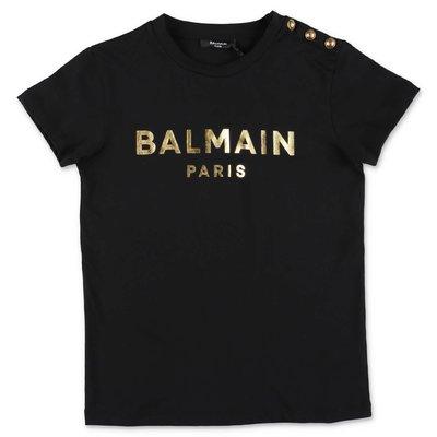 블랙 코튼 저지 BALMAIN 티셔츠
