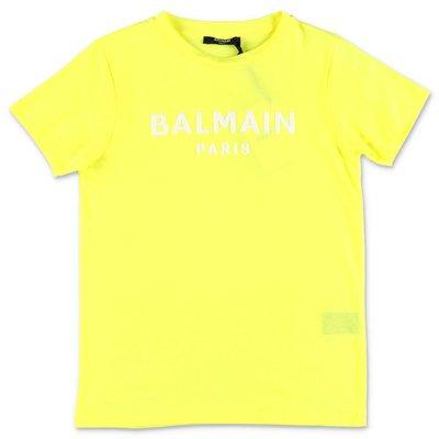 형광 옐로우 코튼 저지 BALMAIN 티셔츠