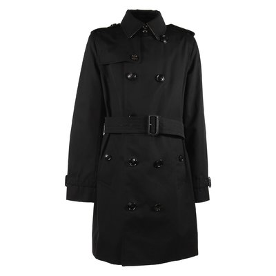 Black cotton canvas trench coat