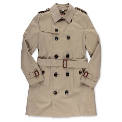 Beige cotton canvas trench coat