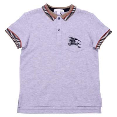 Marled grey cotton piqué polo