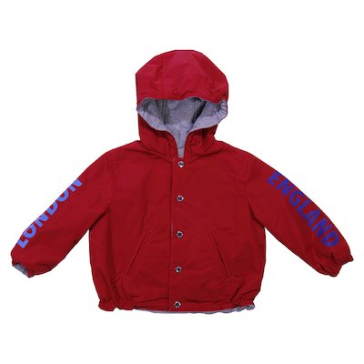 reversible red hooded jacket