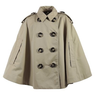 beige cotton gabardine girl trench cape